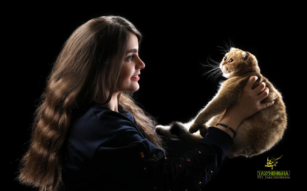 دختری با موهای بلند و گربه